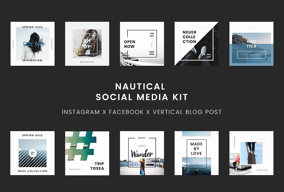 Social Media Posting Template Fresh Nautical social Media Kit Powerpoint social Media
