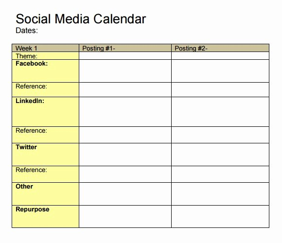 Social Media Posting Template Fresh social Media Posting Calendar Template