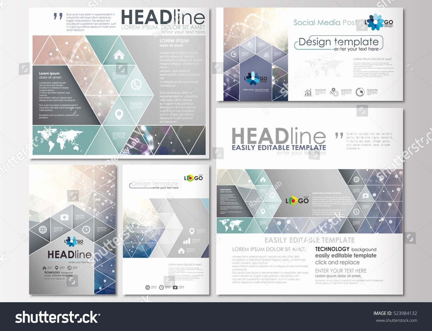 Social Media Posting Template Fresh social Media Posts Set Business Templates Stock Vector