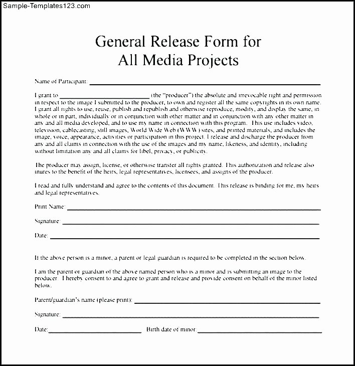 Social Media Release form Template Beautiful Media Consent Release form In Template Grapher