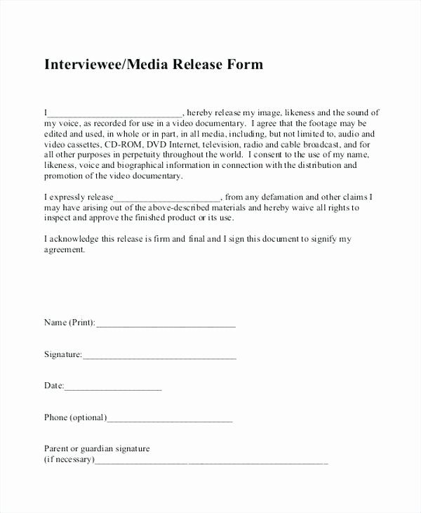 Social Media Release form Template Inspirational Media Waiver Template Minor Media Release form Template