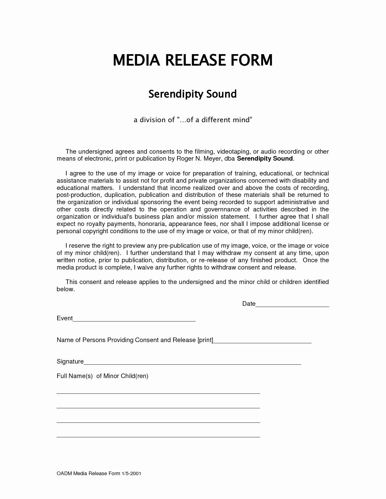 Social Media Release form Template Unique form Media Release form