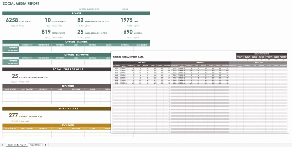 Social Media Reports Template New 32 Free Excel Spreadsheet Templates