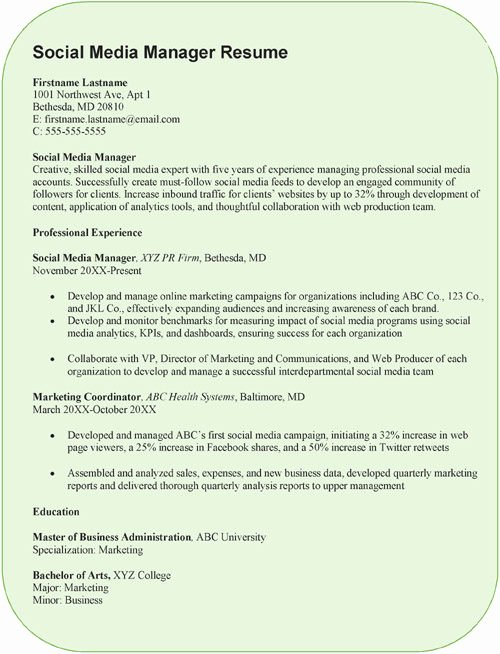 Social Media Resume Template Awesome social Media Manager Resume Sample – Pdf format – Word