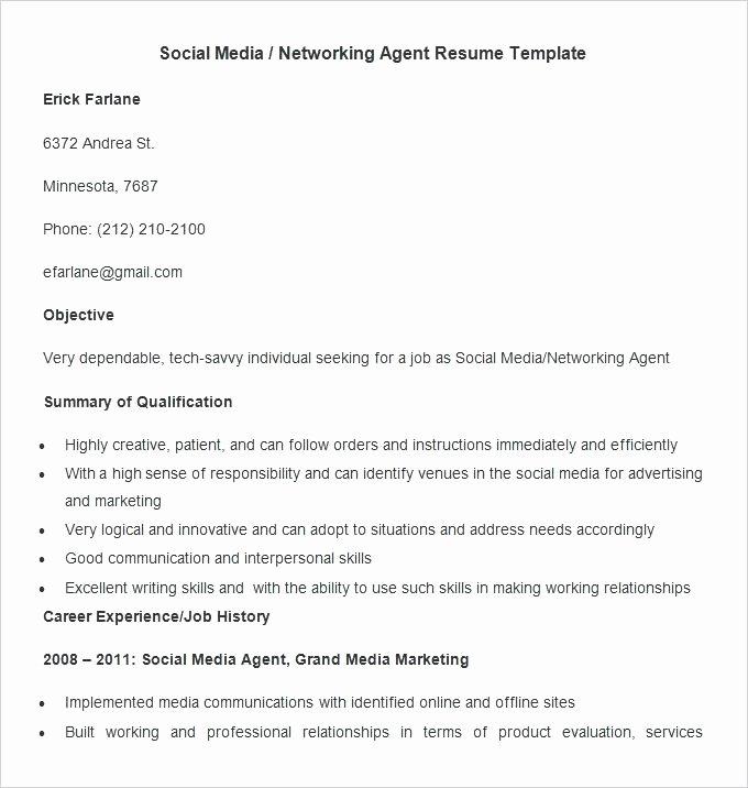 Social Media Resume Template Awesome social Media Marketer Resume Sample Marketing Imposing