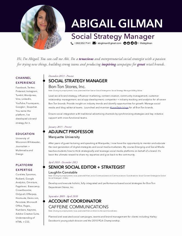 Social Media Resume Template Beautiful Abigail Gilman social Media Manager Resume