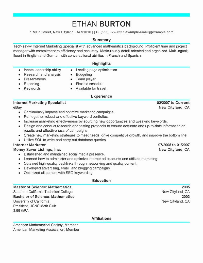 Social Media Resume Template Beautiful Best Line Marketer and social Media Resume Example