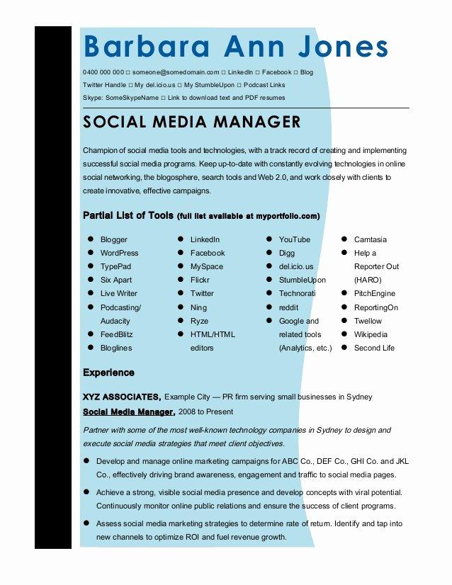 Social Media Resume Template Beautiful Cmmaao Pmi Resume Template social Media Manager