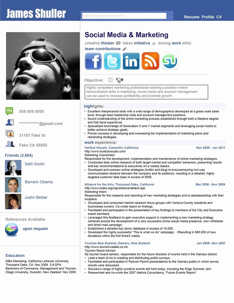 Social Media Resume Template Beautiful Inspired Resume by Rkaponm