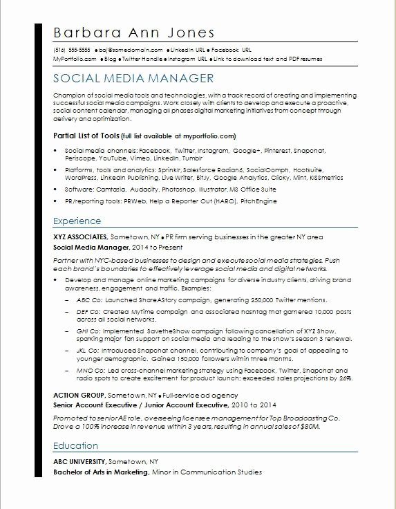 Social Media Resume Template Beautiful social Media Resume Sample