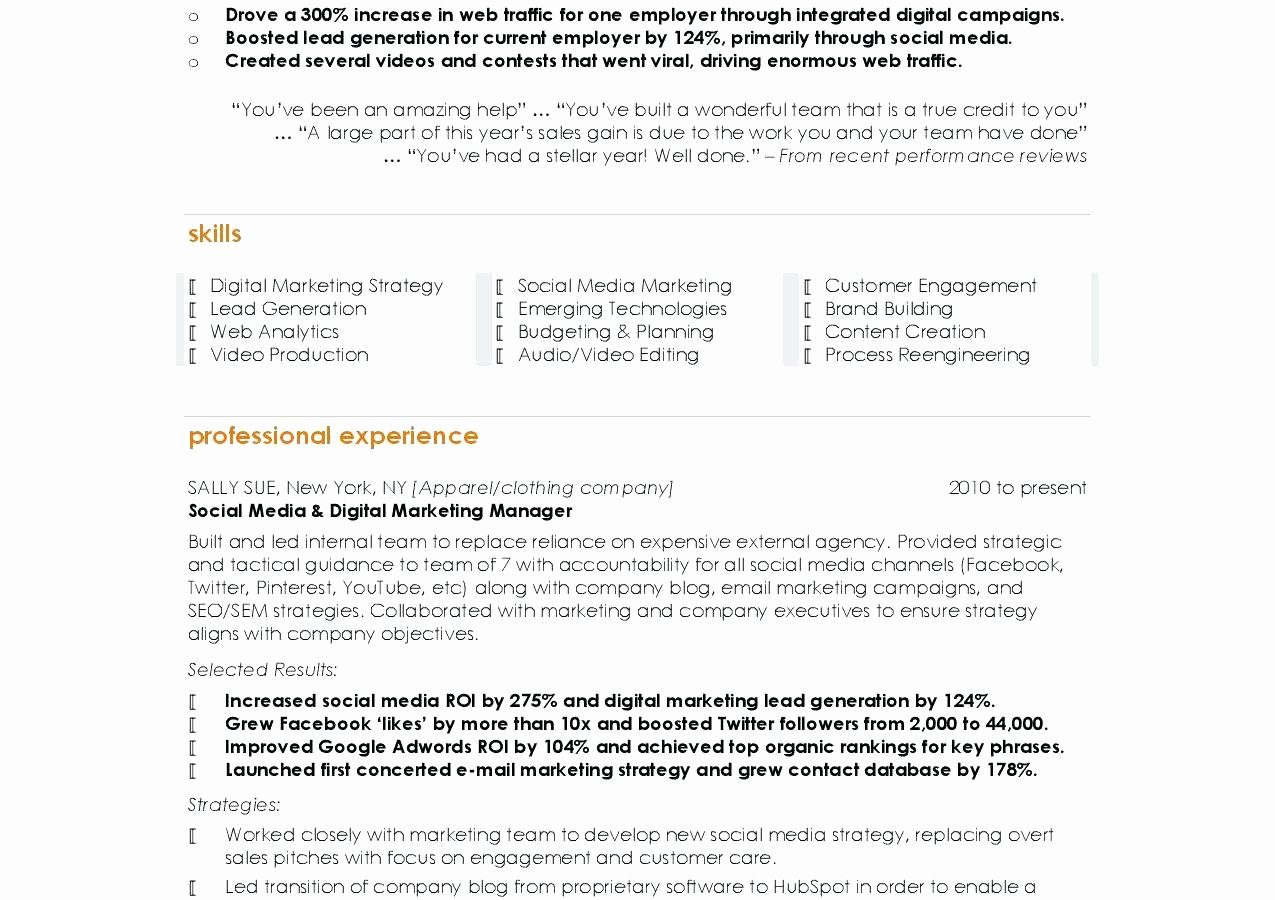 Social Media Resume Template Best Of social Media Specialist Resume Multimedia Cover Letter