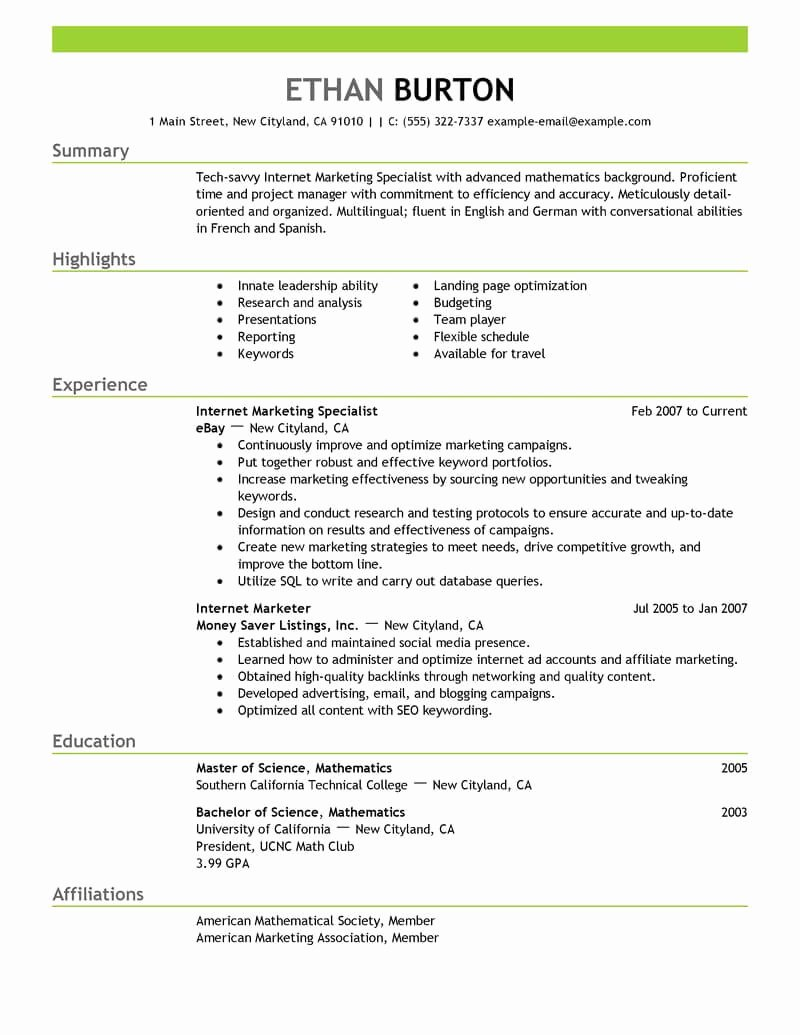 Social Media Resume Template Elegant Best Line Marketer and social Media Resume Example
