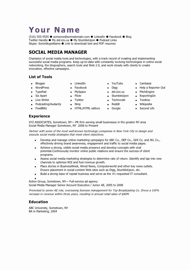 Social Media Resume Template Inspirational social Media Manager Cv Template
