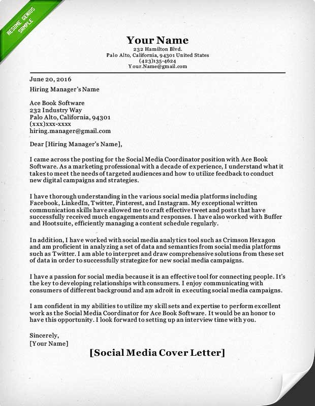 Social Media Resume Template Lovely Salesperson & Marketing Cover Letters
