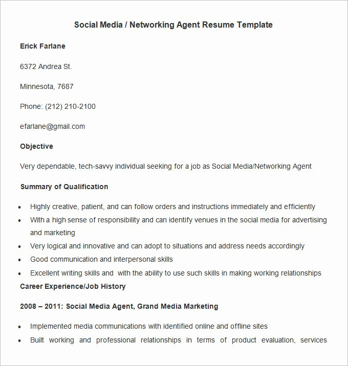 Social Media Resume Template Luxury Marketing Resume Template – 37 Free Samples Examples