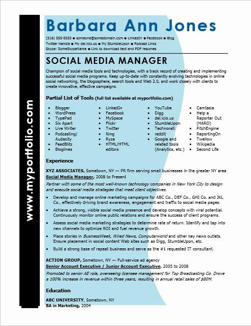 Social Media Resume Template Luxury social Media Resume Sample