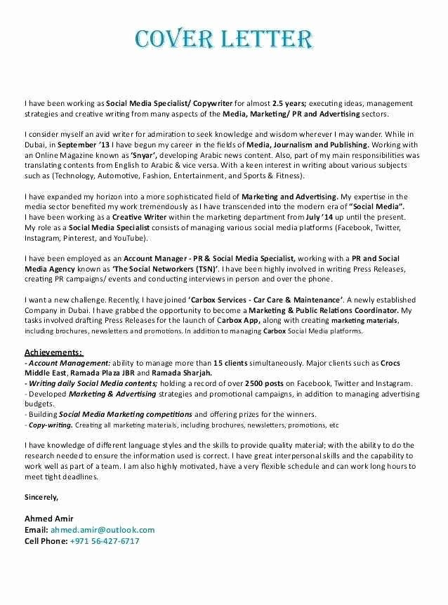 Social Media Resume Template Unique 40 Luxury social Media Specialist Cover Letter Gallery
