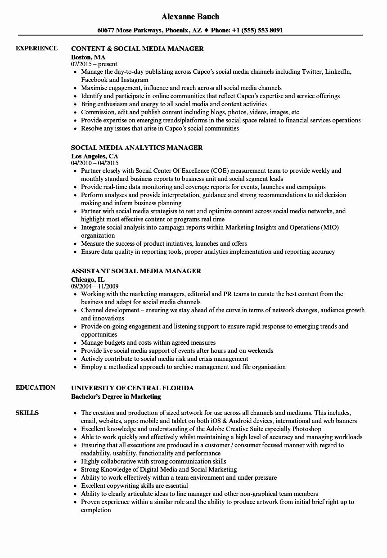 Social Media Resume Template Unique Media & social Media Manager Resume Samples