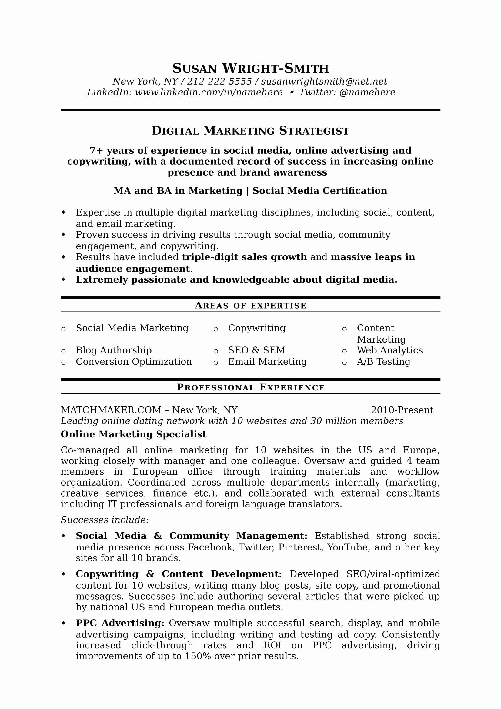 Social Media Resume Template Unique Resume social Media Resume