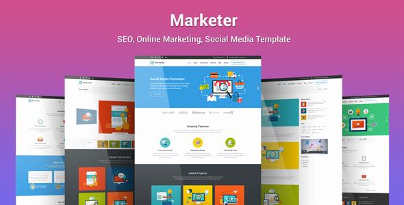 Social Media Website Template Beautiful Marketer Seo Line Marketing social Media Template by