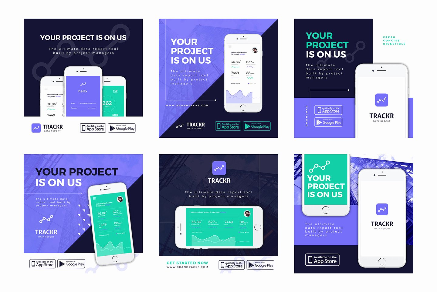 Social Media Website Template Inspirational App Promotion social Media Templates Pack Brandpacks