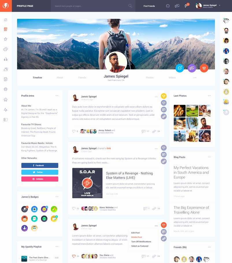 Social Network Website Template Awesome Latest Creative Website Psd Templates November 2016
