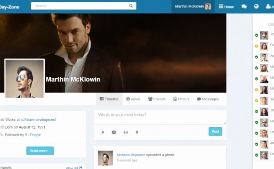 Social Network Website Template Best Of Dayzone Bootstrap social Network