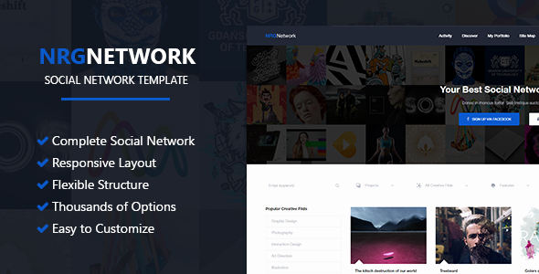 Social Network Website Template Luxury Nrgnetwork Responsive social Network Template by