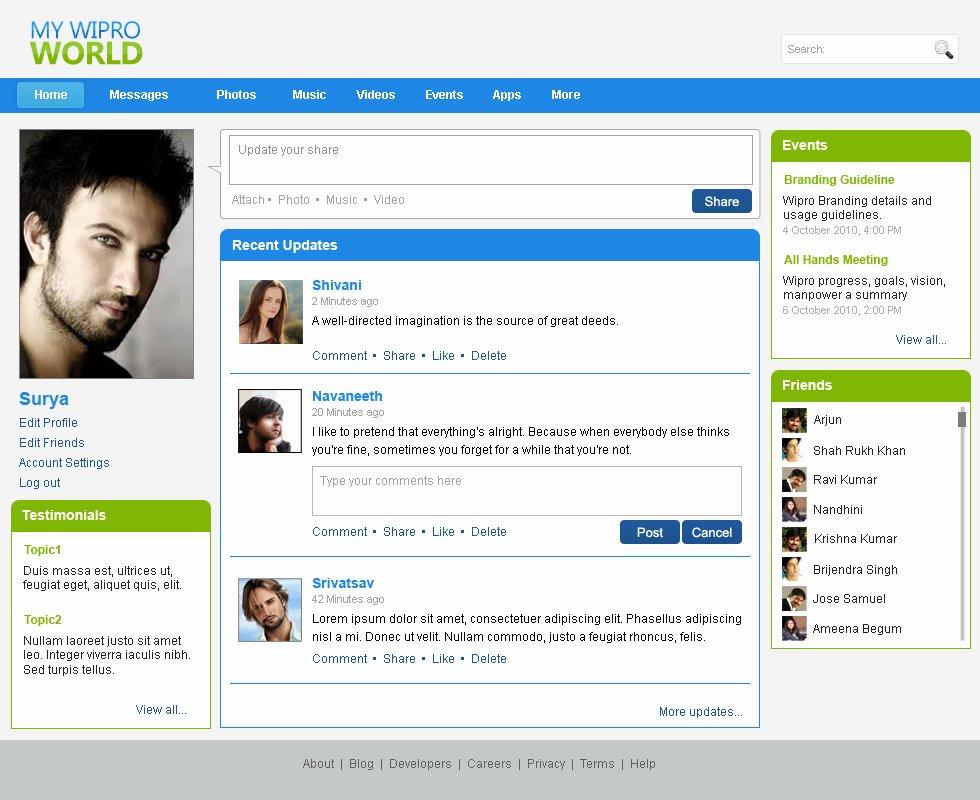 Social Network Website Template Unique Websites by Bhanu Shankar at Coroflot