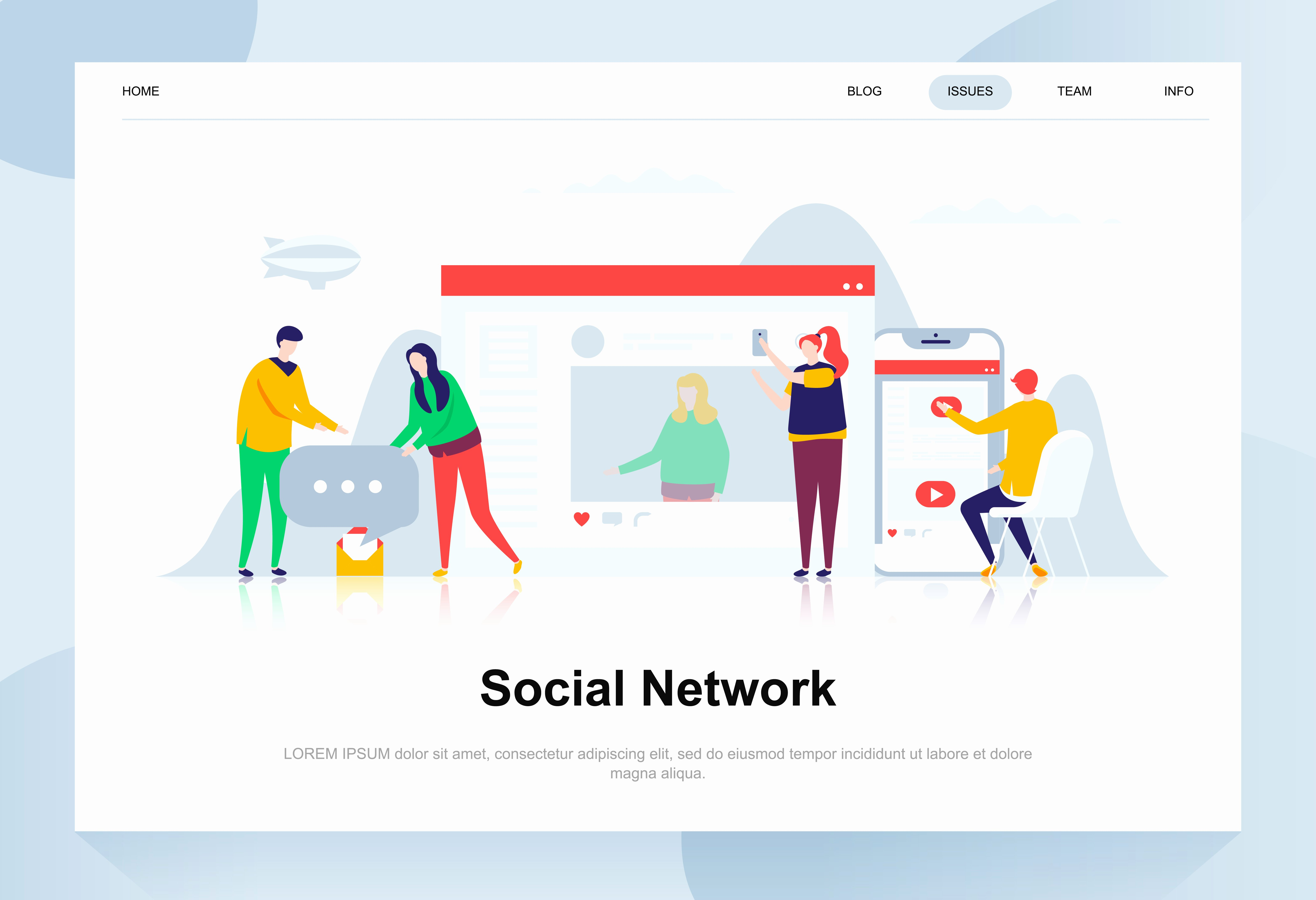 Social Networking Web Template Lovely social Network Modern Flat Design Concept Munication