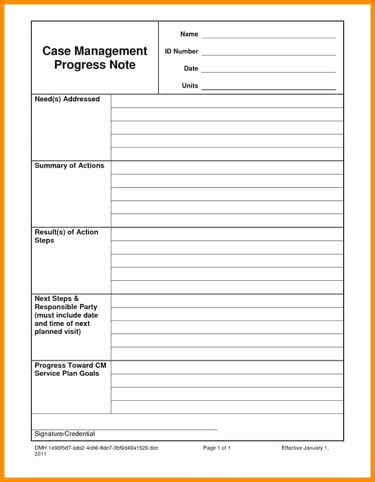 Social Work Progress Notes Template Luxury Case Notes Template Management Progress Note Doc Service