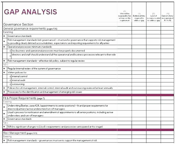 Software Gap Analysis Template Unique Business Gap Analysis Template Fit Excel Spreadsheet