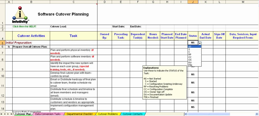 Software Implementation Plan Template Excel Unique Cutover Plan Template Erieairfair