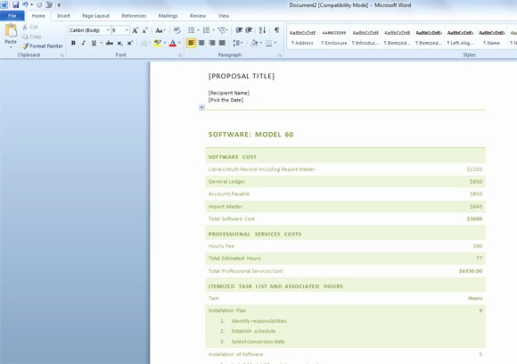 Software Proposal Template Word Fresh Free Business Proposal Template for Word