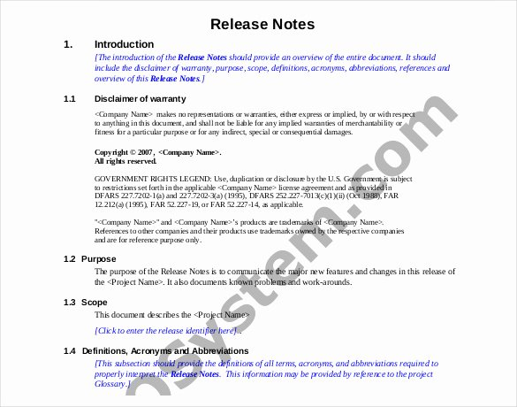 Software Release Notes Template Awesome Release Notes Template 14 Free Word Pdf Documents