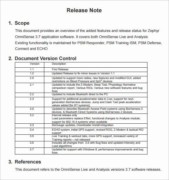 Software Release Notes Template Inspirational Release Notes Template 6 Download Free Documents In Pdf