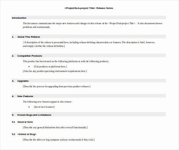 Software Release Notes Template Unique Release Notes Template 14 Free Word Pdf Documents