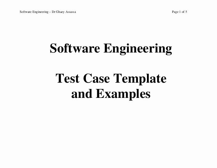 Software Test Case Template Fresh Test Case Template