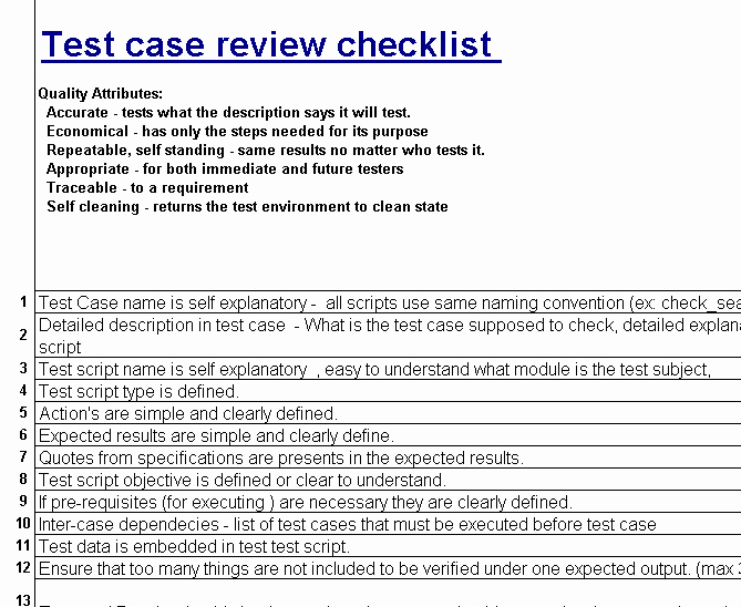Software Test Case Template Inspirational Test Case Review Checklist