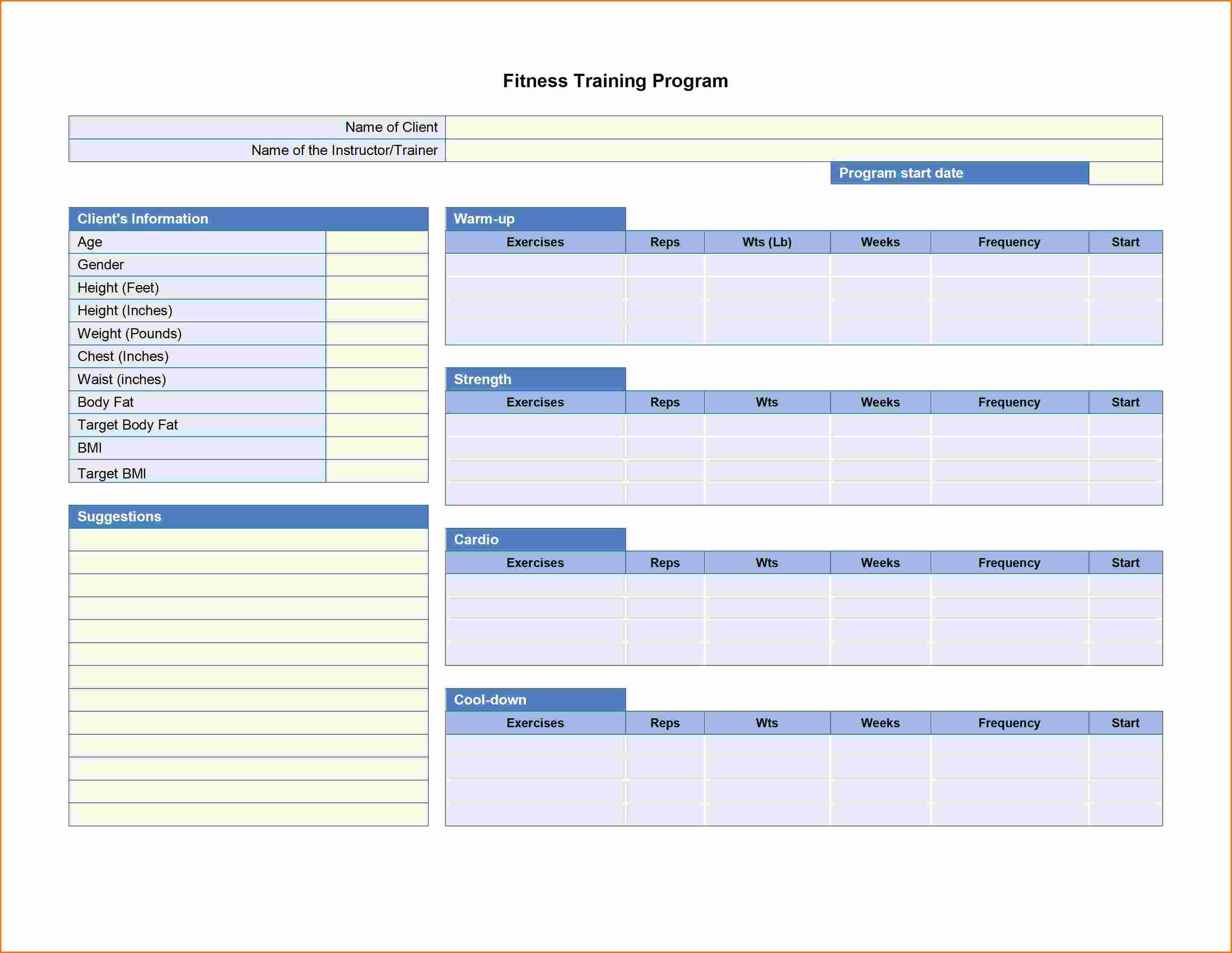 Software Training Plan Template Beautiful 5 Workout Plan Template