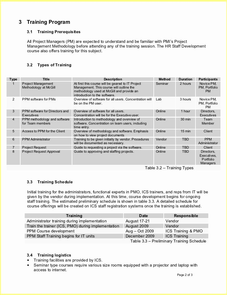Software Training Plan Template Fresh Employee Training Plan Template