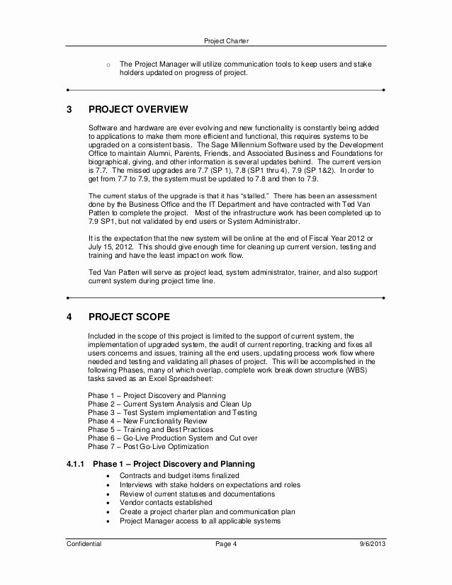 Software Upgrade Project Plan Template Elegant Project Charter and Plan Document for Millennium Upgrade