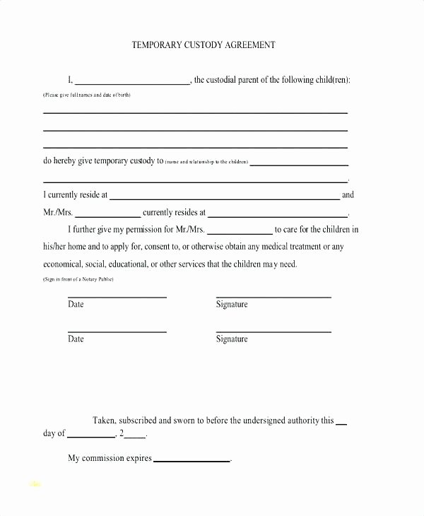 Sole Custody Agreement Template Fresh Notarized Custody Agreement Template Example Custody