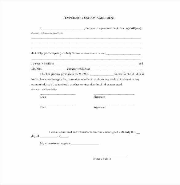 Sole Custody Agreement Template Lovely In Cases where A Child Needs Temporary Custody Away From