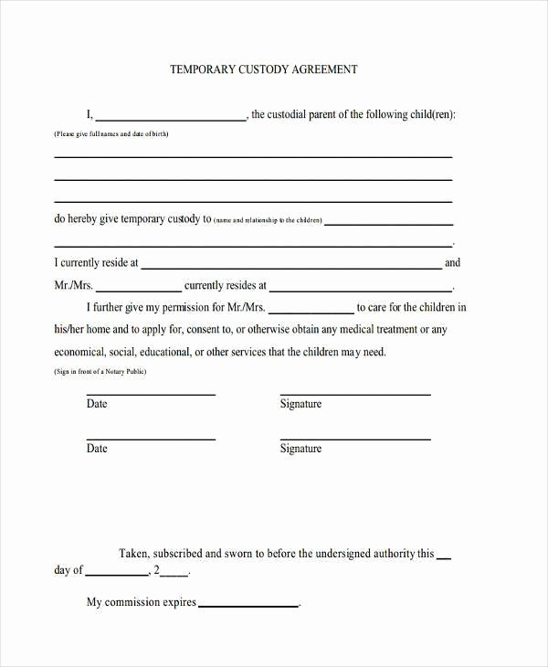 Sole Custody Agreement Template Lovely Sample Custody Agreement forms 8 Free Documents In Word