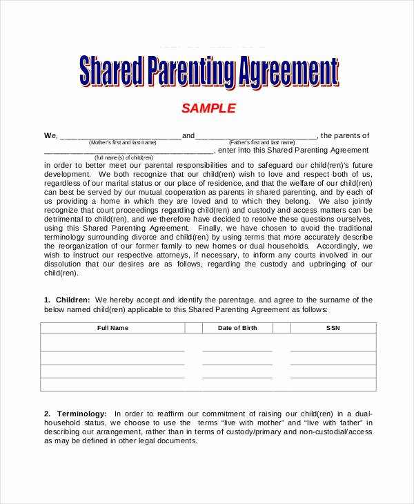 Sole Custody Agreement Template Luxury Parenting Agreement Templates 8 Free Pdf Documents