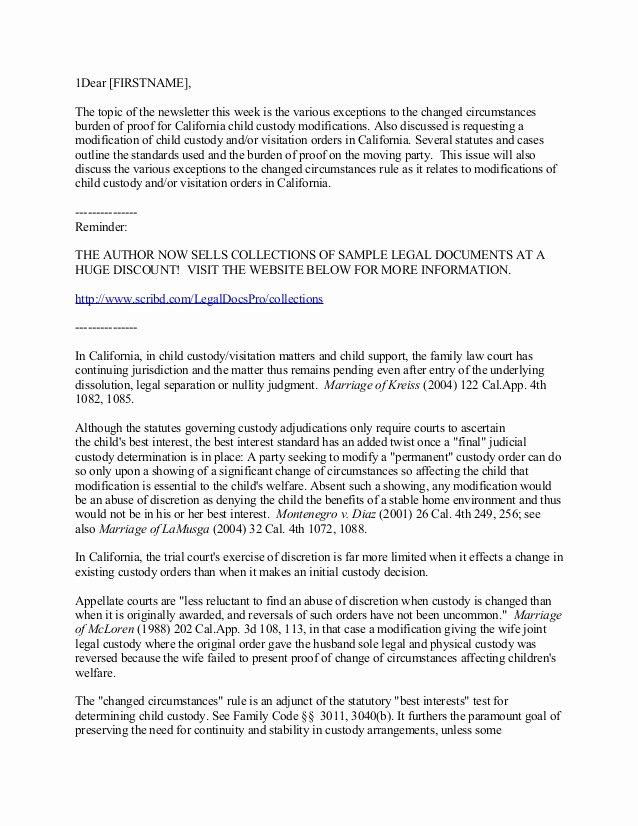 Sole Custody Agreement Template New California Child Custody and Visitation Modifications