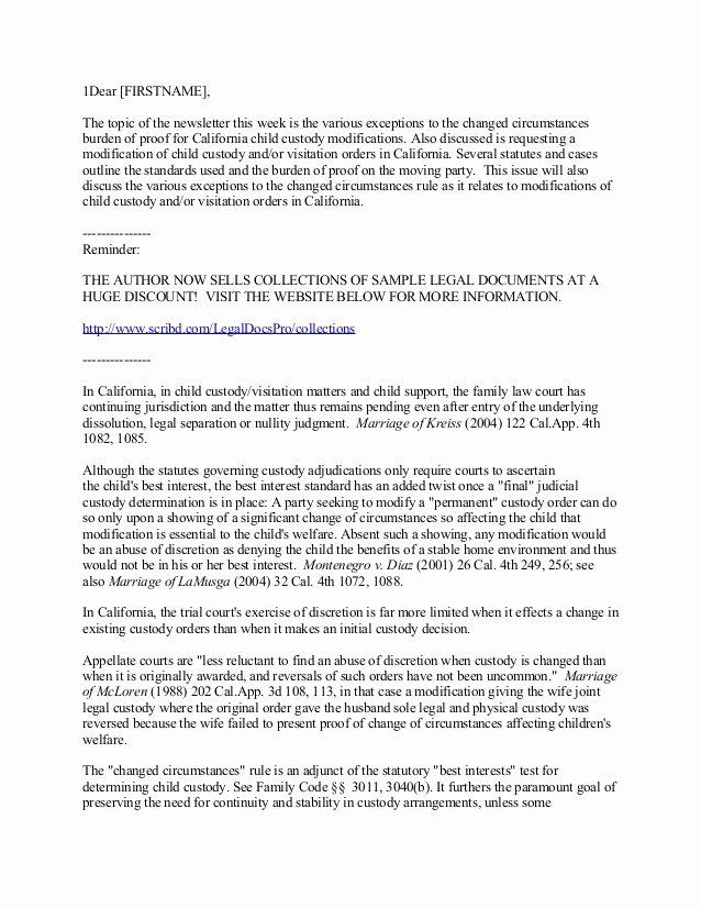 Sole Custody Agreement Template New Child Custody Agreement Template Ontario California Child