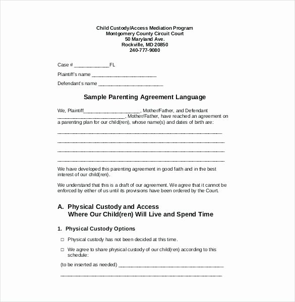 Sole Custody Agreement Template New Notarized Custody Agreement Template Example Custody