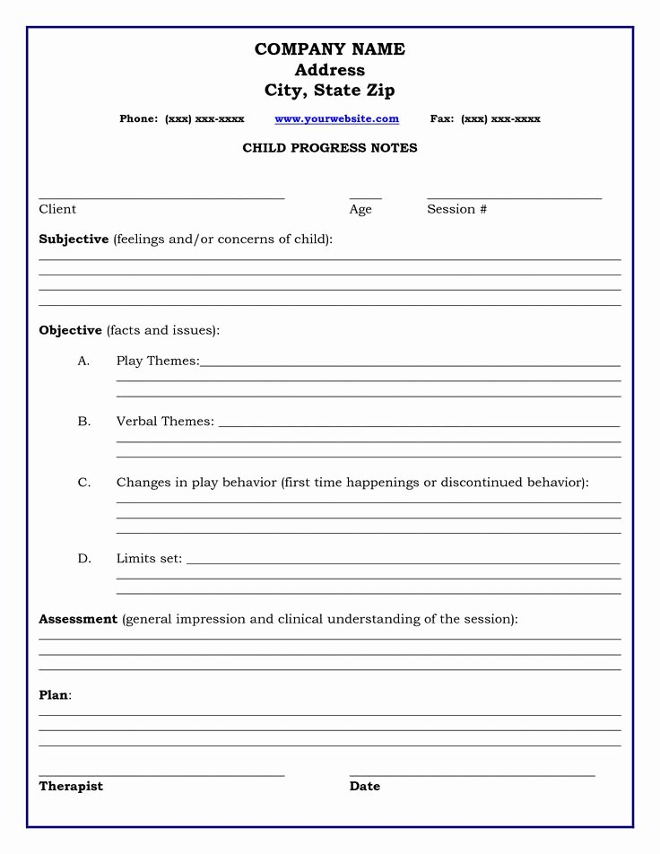 Speech therapy Progress Notes Template Awesome therapy Progress Note Template